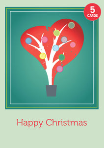 Set of 5 Heart tree Christmas cards