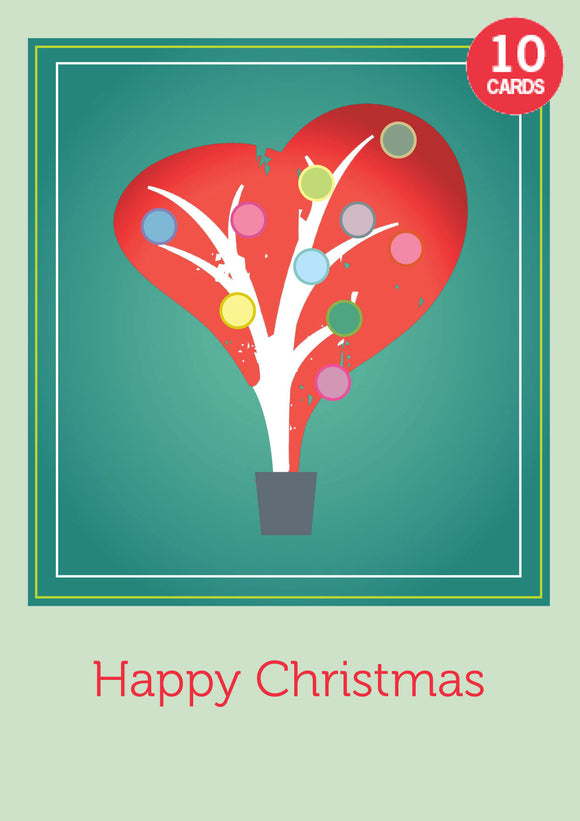 Set of 10 Heart tree Christmas cards