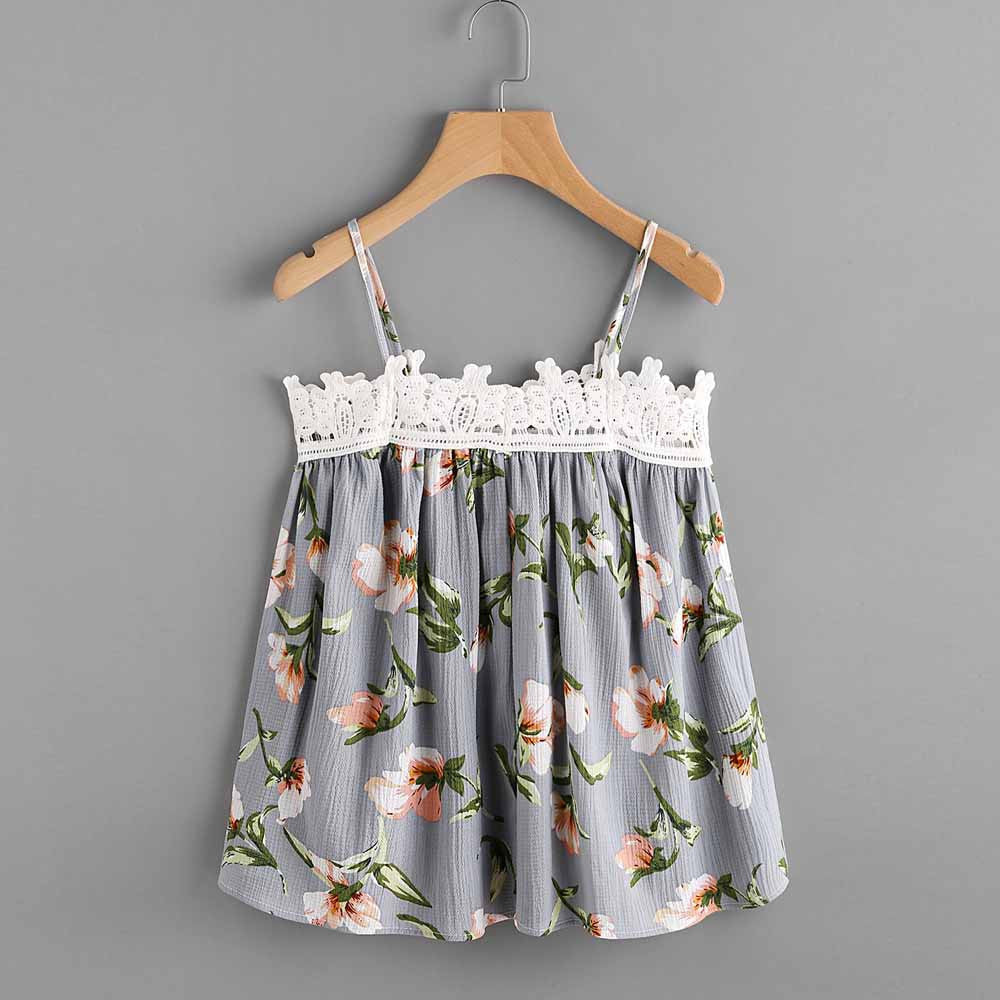 Summer Bralette Crop Top Women Floral Printed Sleeveless Tank Vest Shirt Blusa Cami Sexy Beach Casual Camisole
