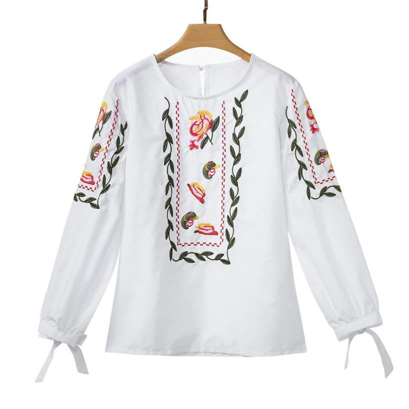 Flower Embroidery Casual Tops