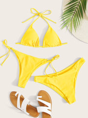 3pack Halter Triangle Tie Side Bikini Swimsuit