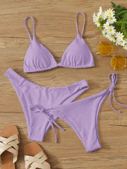3pack Triangle Tie Side Bikini Swimsuit