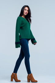 Green flared sleeve knitted sweater