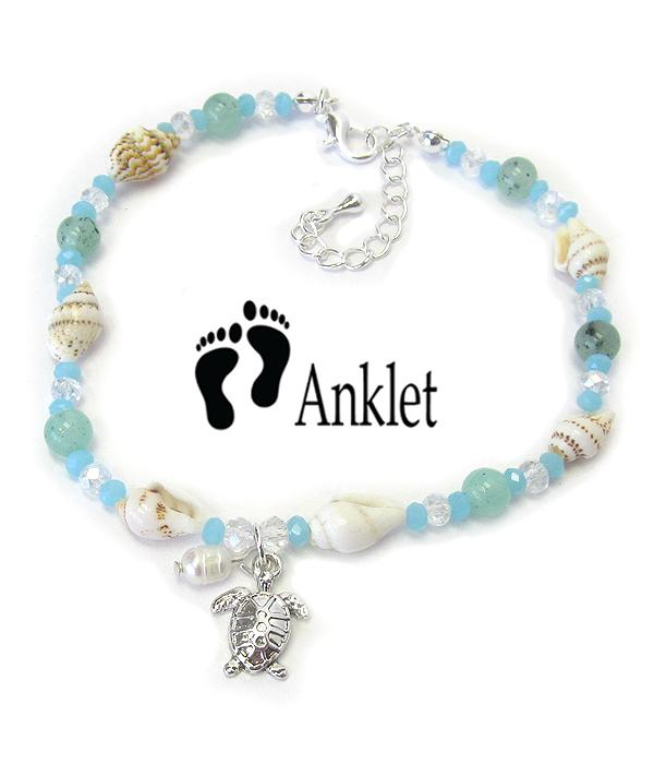 Multi Sea Glass and Shell Mix Anklet - Turtle