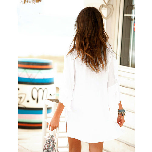 Sexy Swimsuit White V Neck Loose Beach Dress