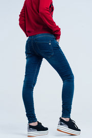Boyfriend dark jeans with elastic waist
