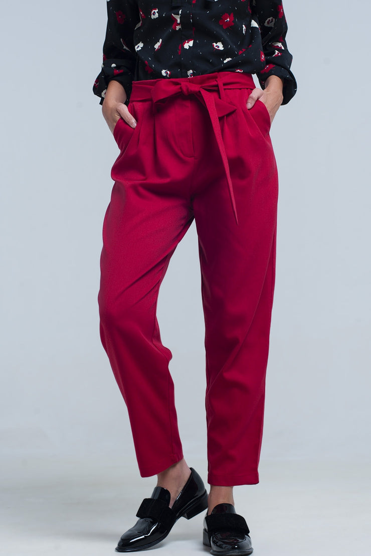 High waist red pants with belt