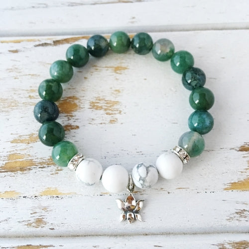 I Am Balanced and At Peace, Moss Agate & White