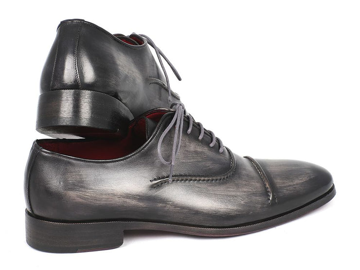 Paul Parkman Men's Captoe Oxfords Gray & Black Shoes (ID#077-GRY)