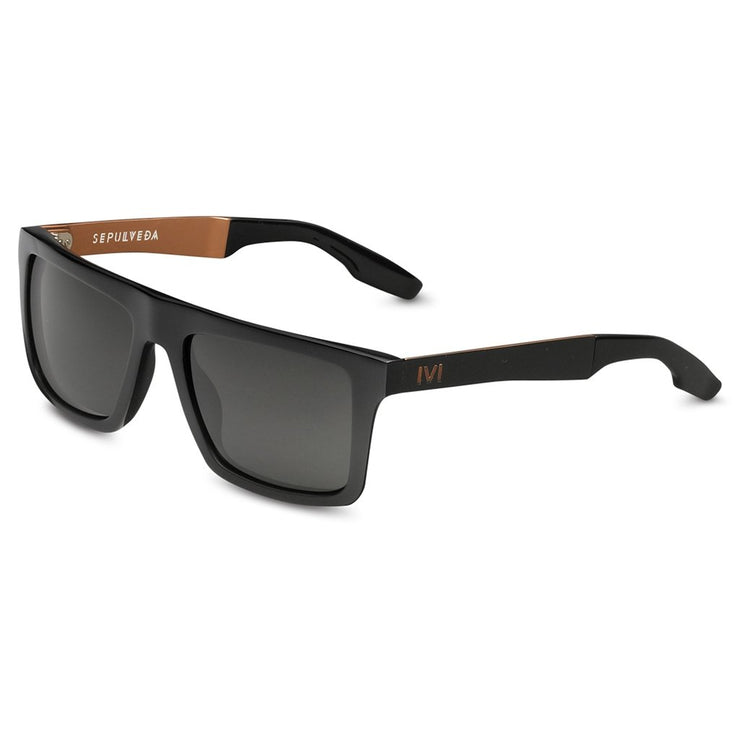 Sepulveda: Polished Black & Copper / Grey Lens