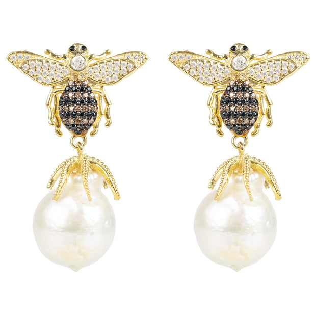 Honey Bee Baroque Pearl Drop Earring gold