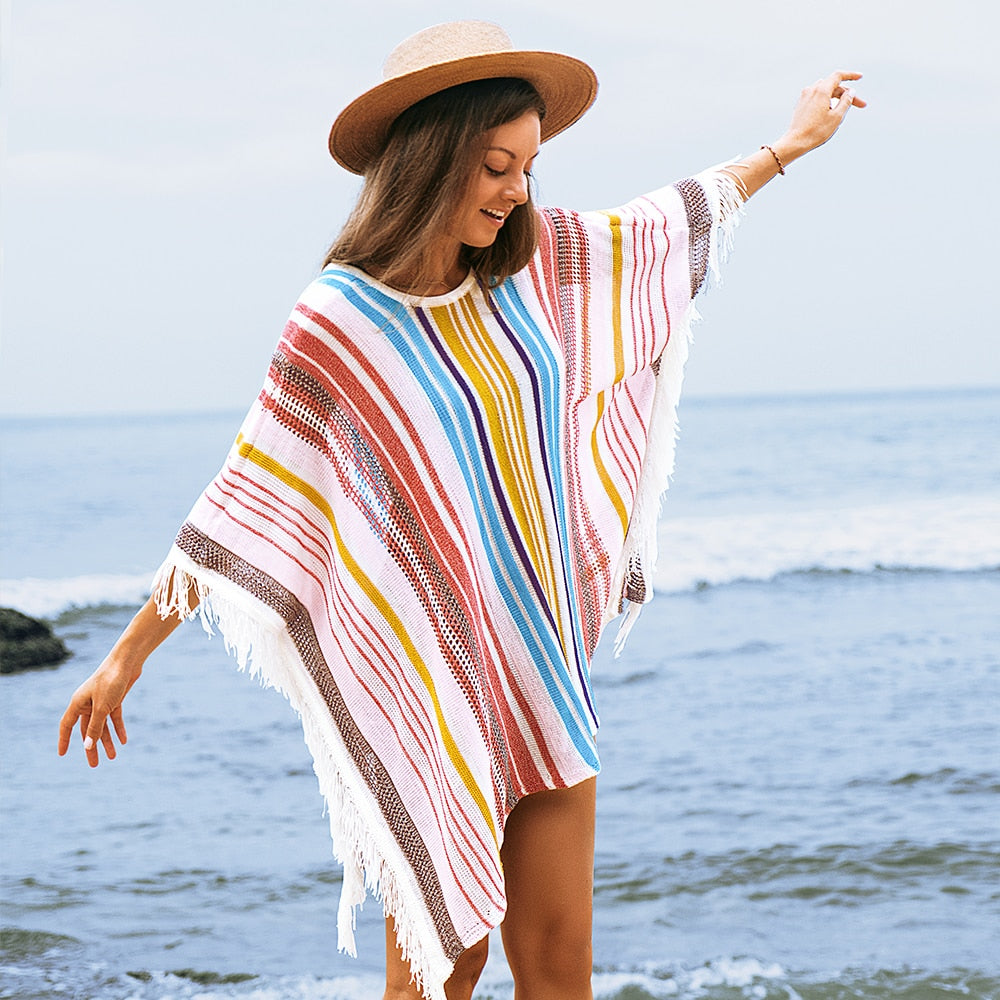 Colorful Vertical Stripe Square Cover Up with