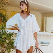 White Beach Dress Lace Cover-up