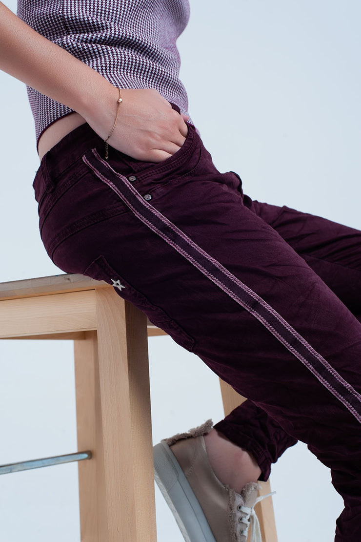 Boyfriend Burgundy jeans with side band