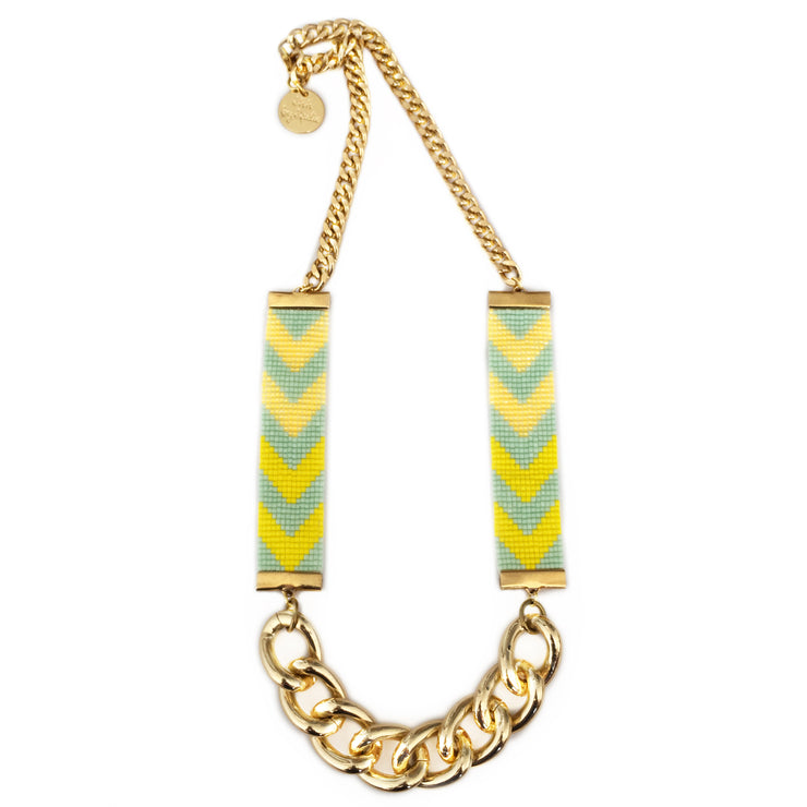Chevron Priestess II Beaded Necklace - Yellow and Lime