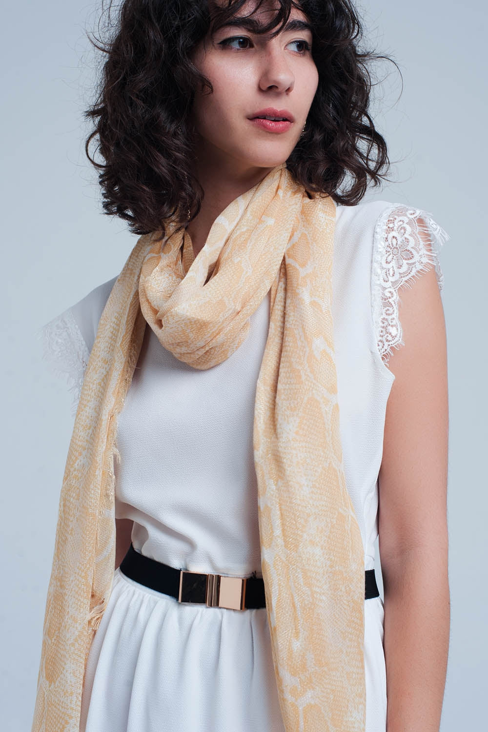 Yellow scarf with leopard print