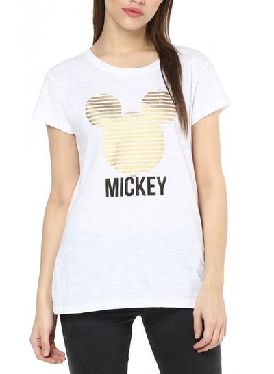 Mickey & Friends Glitzy Mickey White Half Sleeve