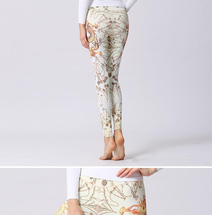 Women Stretched Printed Yoga Pants