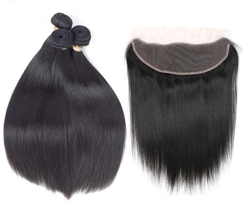 Buy Malaysian Straight Hair Bundles With Lace Frontal [Non-Remy] from Castookie Free Worldwide Shipping