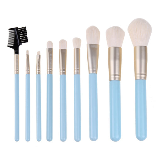Buy LADES 9pcs Light Blue Makeup Brushes Soft Plants Fiber Foundation Powder Eye Shadow Eyebrow Brush Set with Cosmetic Bag from Castookie Free Worldwide Shipping