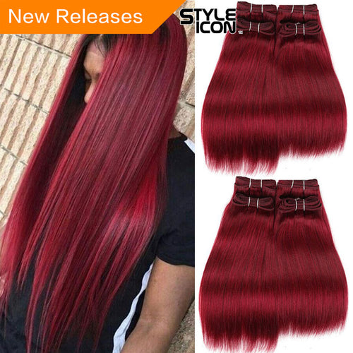 Styleicon Brazilian Yaki Straight Hair 4 Bundles Deal 190G 1 Pack Human Hair Weave Bundles NonRemy Red Color Burg Hair Extension