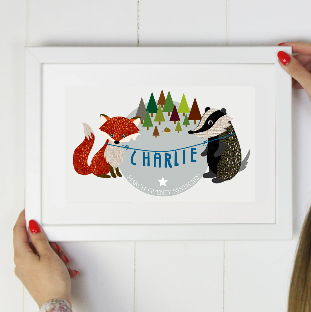 Badger and Fox New Baby Nursery Print