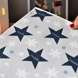 Star and snowflake Christmas Personalised Wrapping Paper