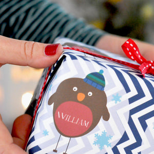 Robin Personalised Wrapping Paper in Chevron design