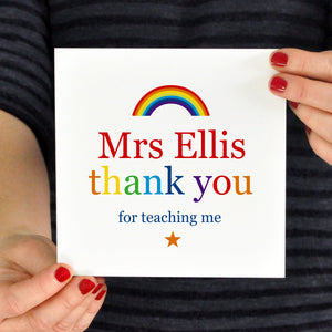 Teacher Rainbow thank you card