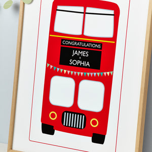 Wedding Just Married Red London Bus Print