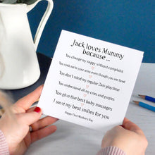 Personalised Reasons I love Mum: Mother's Day card
