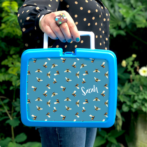 Personalised Bee Plastic Retro Lunchbox
