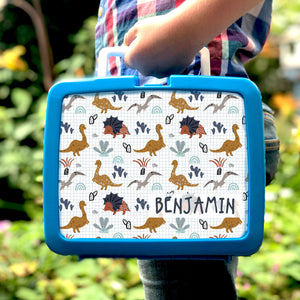 Personalised Dinosaur Pattern Retro Lunch Box