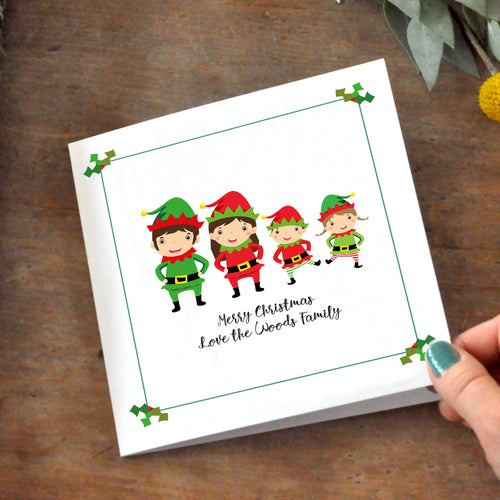 Christmas Elf Family Personalised Cards