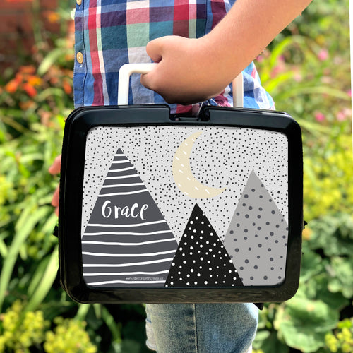 Scandi Mountains Personalised Plastic Retro Lunchbox