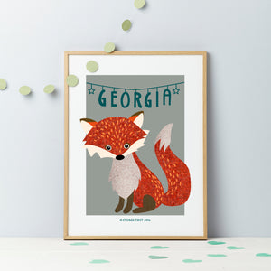 New Baby Fox Tweed Congratulations Print