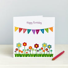 Personalised Bunting Floral Girls Birthday Card