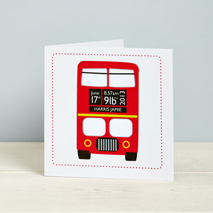 New Baby Congratulations Card Red London Bus