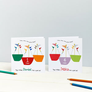 Child's Birthday Card - Row Your Boat