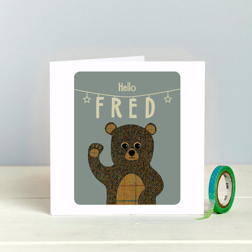New Baby Personalised Card With Tweed Teddy