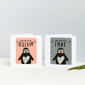 Personalsied Penguin Anniversary Card