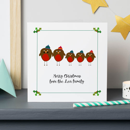Christmas Robin Family Personalised Cards