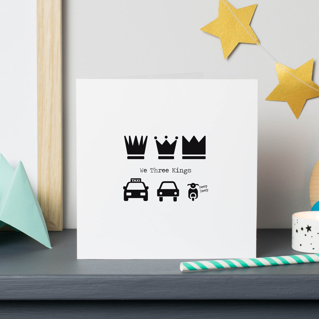 We Three Kings Funny Christmas Card - Taxi, Car and Scooter