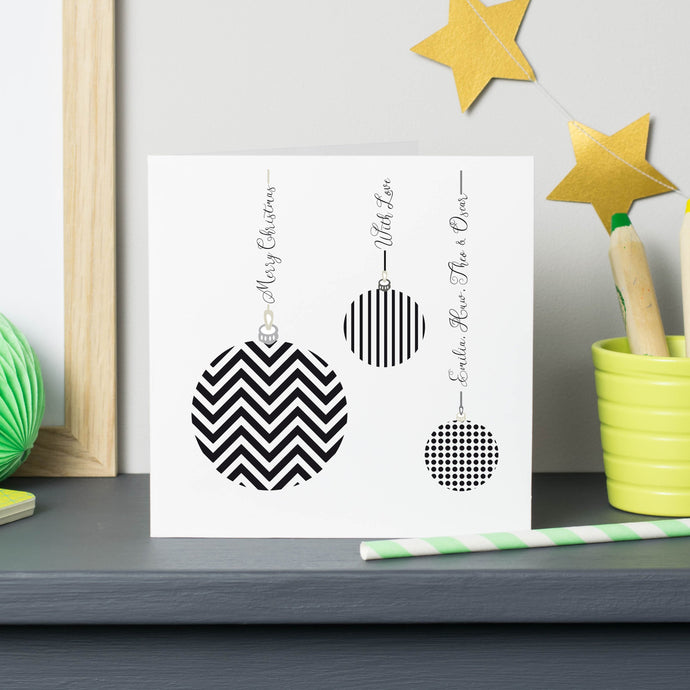 Monochrome Personalised Geometric Bauble Cards