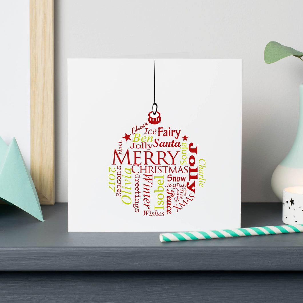 Christmas Bauble Cards Personalised Words