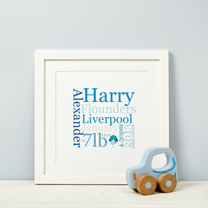 New Baby Gift Print Bespoke Personalised Birth Details Typographic