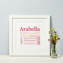 Christening Gift Print - Suitable for Baptism, Naming Day, Dedication, First Communion or Blessing