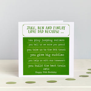 Father's Day Personalised Dad Birthday Card