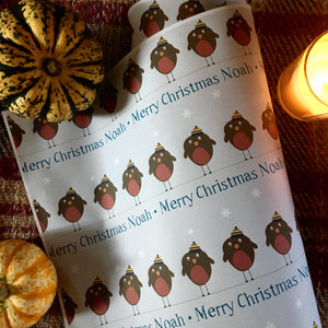 Personalised Robin Wrapping paper