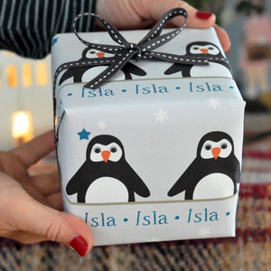 Personalised Penguin Christmas Wrapping Paper